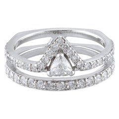18K White Gold & 0.92 cts Colorless Diamond Spear Ring by Alessa Jewelry
