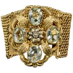 Antique Georgian Tourmaline Bracelet 18 Carat on Pinchbeck, circa 1800