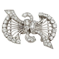 Antique Art Deco 4.16Ct Diamond and Platinum Double Clip Brooch - Circa 1930