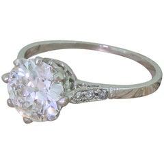 Art Deco 1.53 Carat Old Cut Diamond Platinum Engagement Ring