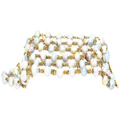 """Baroque Style"" Cultured Pearls Yellow Gold Choker Bracelet"