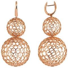 Rose Gold Honey Comb Disco Ball Earring