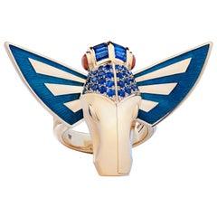 Jitterbug Horse Fly 18 Karat Yellow Gold with Blue Enamel Wings Ring