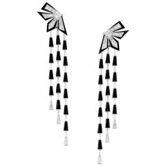 Dynamite Cascade Enamel 18 Karat White Gold and White Diamond Earrings