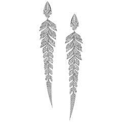 Magnipheasant Pavé 18 Karat White Gold and White Diamond Earrings