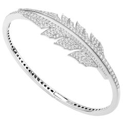 Magnipheasant Pavé Open Feather 18 Karat White Gold and White Diamond Bracelet