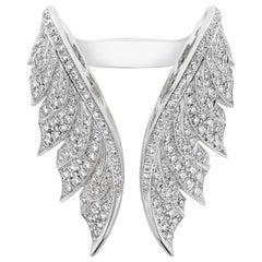 Magnipheasant Pavé Open Feather 18 Karat White Gold and White Diamond Ring