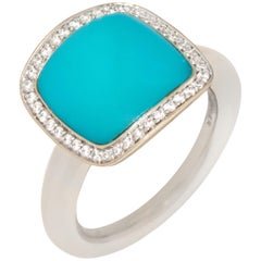 Vhernier 18 Karat White Gold Turquoise Diamond Ring PG1180A-252
