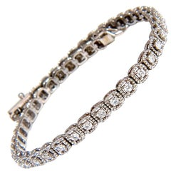 1.08 Carat Diamonds Tennis Bracelet 14 Karat Box and Rope Twist