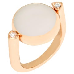 Vhernier 18 Karat Yellow Gold Coral White Jade Diamond Ring 001281A202