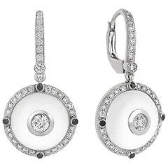 White Gold Diamond, Black Diamond  Rock Crystal Earrings