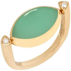 Vhernier 18 Karat Yellow Gold Jade and Moonstone Diamond Ring 001280A201