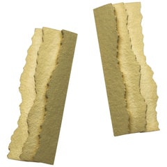 Annabel Eley Paper Textured 18 Karat Gold Earrings with Ripped Edges