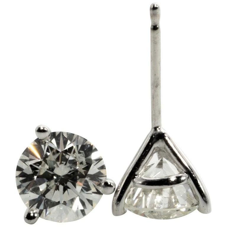 2.18 Carat Diamond Stud Earrings in 14 Karat White Gold, in Martini Setting For Sale