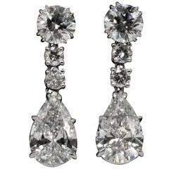 6.31 Carat Dangling Pear Shape Diamond Earrings in Platinum