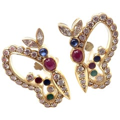 Chopard Diamond Ruby Sapphire Happy Butterfly Yellow Gold Earrings