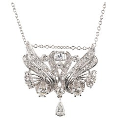 1.85 Carat Diamond White Gold Pendant Brooch Necklace