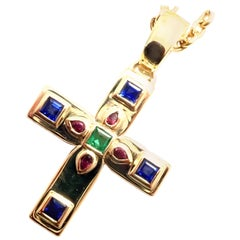 Cartier Vizantija Cross Sapphire Ruby Emerald Yellow Gold Pendant Necklace