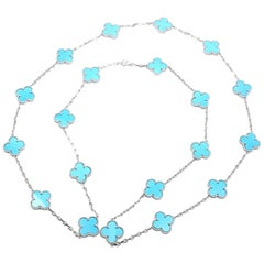 Van Cleef & Arpels Vintage Alhambra Turquoise 20 Motif White Gold Necklace
