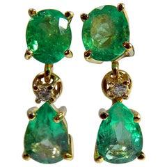 3.56 Carat Natural Colombian Emerald Dangle Earrings 18 Karat