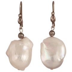 White Fresh Water Baroque Pearl Dangle Earrings