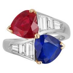 Bayco Ruby Sapphire Diamond Platinum 18 Karat Yellow Gold Bypass Ring