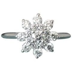 Tiffany & Co. Platinum and Diamond Flower Ring .60 Carat