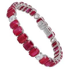 Bayco 49.18 Total Carat Ruby Diamond Platinum Bracelet