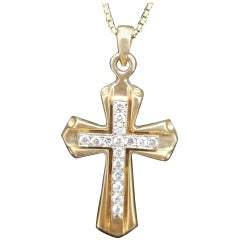 14 Karat 2-Tone Gold Diamond Cross and Chain