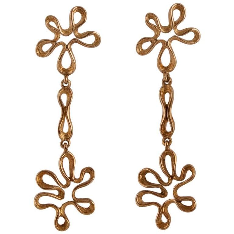 14 Karat Gold Vintage Mod Clip-On Screw Back Dangle Earrings
