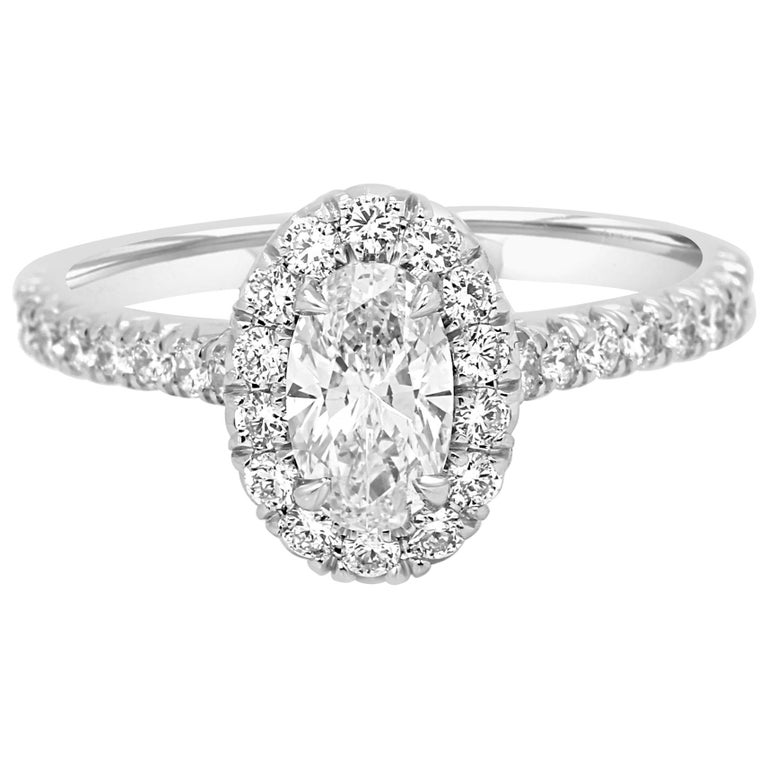 GIA Certified Oval Diamond Halo Platinum Gold Engagement Ring