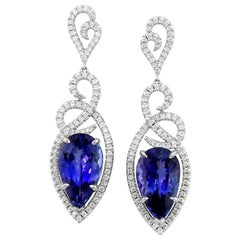 Tanzanite Diamond and White Gold Statement Earrings