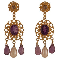 Amethyst Diamond Pearl 18 Karat Gold Dangle Earrings