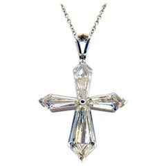 Platinum Diamond Necklace with Cross Pendant