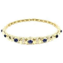 Giovane Blue Sapphire and Diamond 18 Karat Flexible Collar Necklace