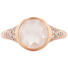 Moonstone and Diamond Rose Gold Ring