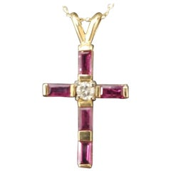 14 Karat Yellow Gold Ruby and Diamond Cross