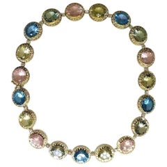 155 Carat Blue Topaz, Green Amethyst, Rose Quartz, and Yellow Quartz Necklace