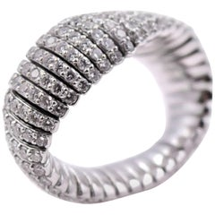 3.02 Carat White Diamond Flexible Ring in 18 Karat White Gold