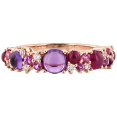 Amethyst and Ruby Rose Gold Ring