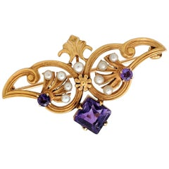 14 Karat Yellow Gold Amethyst and Seed Pearl Estate Brooch Pin