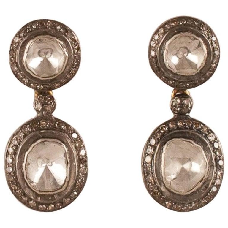 Rose Cut Diamond Sterling Silver Dangle Earrings