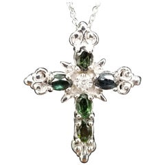14 Karat White Gold Green Tourmaline and Diamond Cross