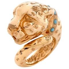 Panther Designer Adlinea Turquoise 18 Karat Gold Ring