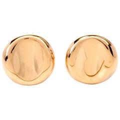 Italian Yellow Gold Clip-Back Stud Earrings