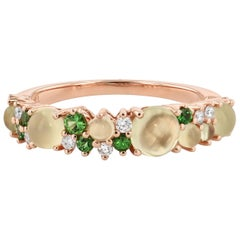 Olive Chalcedony and Diamond Rose Gold Band Ring