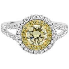 Natural Fancy Yellow Round Diamond Double Halo Two-Color Gold Engagement Ring