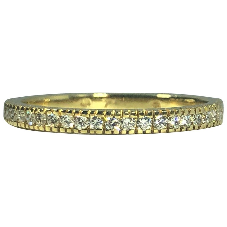 Hidalgo 18 Karat Yellow Gold and Diamond Half Shank Eternity Band