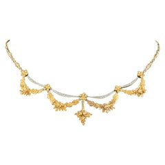 Necklace 18 Carat Gold Floral with Festoons of Diamonds French, circa 1900