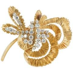 Brooch 18 Carat Gold and Diamond Set by Kutchinsky London, 1968